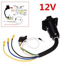 12V Wiring Adapter Plug 4 Pin Flat to 7 Pin Round RV Blade Trailer Plug Towbar