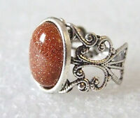 Glittery Brown Goldstone Gemstone Adjustable Filigree-Style Ring L-T in Gift Box