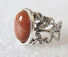 Glittery Brown Goldstone Gemstone Adjustable Filigree-Style Ring L-T in Gift Box