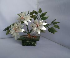 VINTAGE Cinese MADREPERLA E GIADA bonsai fioritura albero di giada Pot