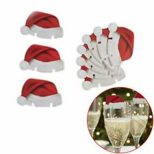 CHRISTMAS Santa Hat Glass Decorations, Place Card Settings  (10 Pack)