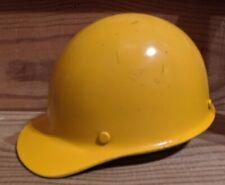 Vintage 1980 MSA Fiberglass Safety Headgear Front Brim Hard Hat Yellow Brown