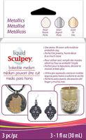 Sculpey Liquid Medium Metallics Pearl, Silver & Gold Bakeable Clay - ALSMET1