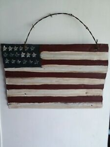 Upcycled Barn Tin & Barb Wire USA Flag Patriotic Rustic Farmhouse Chic Decor