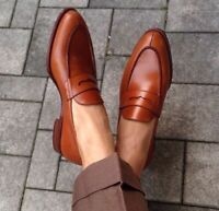 TOP QUALITY-Handmade Mens Loafers Brown shoes Mens Causal/Formal Shoes-ALL SIZE