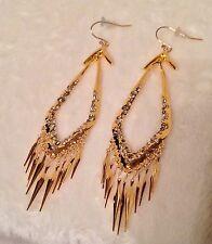 "Alexis Bittar GoldTone FRINGE Earrings White Swarovski Crystal Pierced Wires 4"""