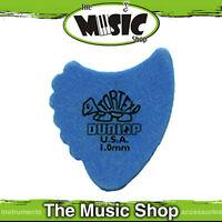 """10 x Jim Dunlop Tortex """"Shark Fins"""" Guitar Picks - 1mm Blue Plectrum - Bulk"""