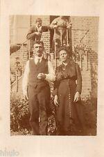 BL966 Carte Photo vintage card RPPC Couple jardin cour mode fashion 1919 cravate
