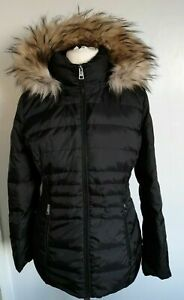 LADIES Andrew Marc Feather & Down Coat Jacket Removable Fur Trim Hood LARGE Y41