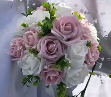 Medium Wedding Posy Bouquet & Vintage Pink & White Roses & Diamantes