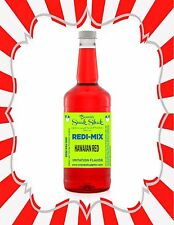 Shaved Ice Syrup - Hawaiian Red Flavor In Longneck Quart Size #1Snoball