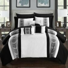 NEW Chic Home Design 10 Piece Comforter Set Clayton White King Size Bag Bedding
