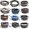 Punk Women Men Leather Bracelet Multilayer Cuff Wrap Bangle Wristband Jewelry