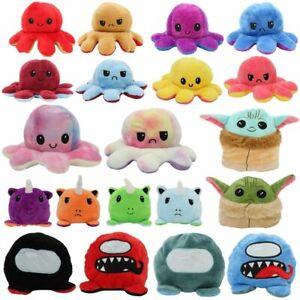 Double-Sided Flip Reversible Emotions Animal Plush Stuffed Sensory Fidget Toy