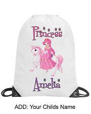 Princess Girl Pink Pony Personalised Drawstring Bag PE Swimming School Gift