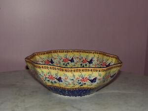 Polish Pottery Medium 10-Sided Bowl! UNIKAT Signature Butterfly Summer!
