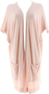 Martha Stewart Open Front Extended Shoulder Cardigan Peach Whip L NEW A307720