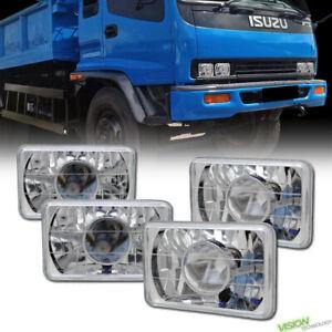 4PCS 4X6 Chrome Clear Glass Lens Projector Headlights H4 H4651 H4656 H4666 Vc3