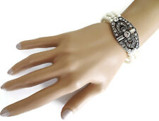 Beautiful Vintage Great Gatsby Style Pearl Bracelet with Diamante 20's Inspired