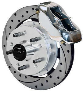 """WILWOOD DISC BRAKE KIT,FRONT,41-56 PACKARD,11.75"""" DRILLED ROTORS,POLISHED CALIP."""