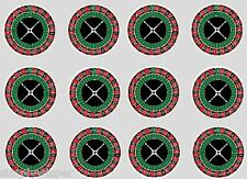 12 Roulette Large 50mm Edible Rice paper Cupcake Decoration Cake toppers Casino