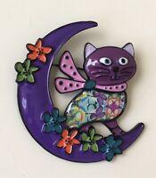 Vintage Style  Cat over the Moon Large Brooch In enamel on metal