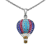 """Silver Plated Crystal Hot Air Balloon Necklace 18"""" Chain Jewelry Box Valentines"""