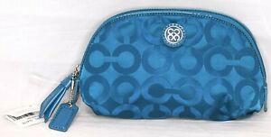 NEW NWT Coach Julia Blue Teal Opt Art Signature Make Up Bag Cosmetic 45093