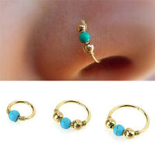 Stainless Steel Nose Ring Turquoise Nostril Hoop Earrings Piercing Jewelry