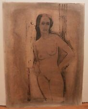 Nude Woman Resting her Elbow on a Window Sill  Crayon Drawing-1965-August Mosca