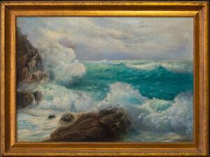 "Lloyd Sexton, Jr. (1912 - 1990) Hawaiian Listed Artist ""Breakers On Rocks"""