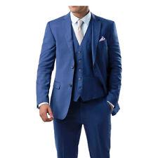 Para hombre Traje de 3 piezas se desvanecen Azul Real Chaqueta Calce Entallado Chaleco Pantalones cualquier ocasión