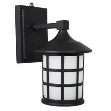 Maxxima LED Outdoor Wall Light Black w/ Frosted Glass Photocell Sensor 600 Lumen