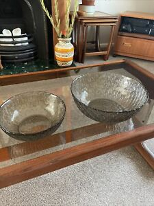Vintage Retro French Arcoroc Marguerite Smoked Glass Bowls Fruit Serving