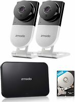 Zmodo 4CH NVR 500GB Hard Drive and (2) WiFi Indoor Smart Security Camera System