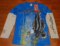 Ed Hardy T Shirt M Boys Blue Grey Long Sleeve Eagle New With Tags Eagle