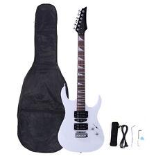 New Burning Fire Electric Guitar Strap Cord Gigbag Picks for Beginner White
