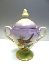 Vintage Old Hand Painted Porcelain Prov SXE ES Germany Bird Robin Sugar Bowl
