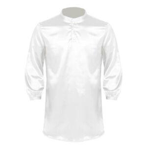 Mens Satin Silk Pajamas Nightwear Long Sleeve Nightshirt Pullover Sleep Tees L