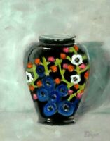 "ORIGINAL SIGNED OIL PAINTING Still Life Japanese Vase  8"" X 10"" K D RYAN"