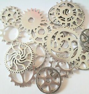 30 g Mixed Silver Tone STEAMPUNK Cogs Gears  20 - 30 mm