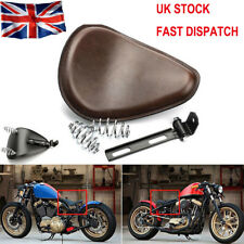 Motorcycle 3'' Spring Solo Bracket Seat For Harley Chopper Bobber Honda  Brown