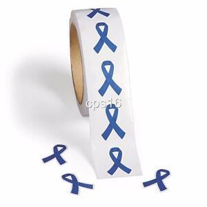 24 Blue Ribbon Stickers...Cancer Awareness...Fundraiser...Craft Decoration