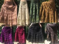 Long gypsy natural cotton hippy boho lace trim skirt