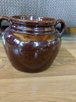 Vintage Stoneware Crock With Handles Brown Bean Pot