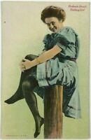Redondo Beach Bathing Girl Dress Stockings On Pier California Vintage Postcard