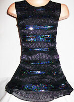 GIRLS BLACK WAVE PATTERN EMBROIDERED SPARKLY SEQUIN DANCE PARTY DRESS age 3-4