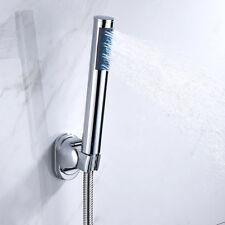 Modern Chrome Shower Head and Hose Round Bath Hand Held Heads and Bracket Set