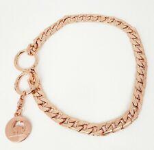 15 Inch Medium Dog Choke Chain Collar  Obedience Collar, Heavy Duty, Rose Gold