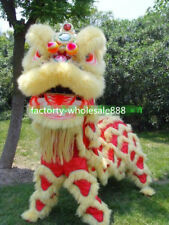 100% Wool Lion Dance mascot Costumes Chinese folk art for two adults yellow new